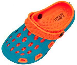 AQUA-SPEED Clogs Für Kinder - Badeschuhe - Ideal für Strand, Pool Und Schwimmbad - #As Silvi, 01 Blau/Orange, 31
