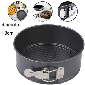 Springform Ø 18 cm, kleine Kuchenform mit Flachboden, runde Backform aus Stahl mit Antihaftbeschichtung (Farbe: schwarz), Menge: 1 Stück