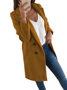 Damenanzug mittellange Wollmanteljacke,Farbe: Kamel,Größe:L