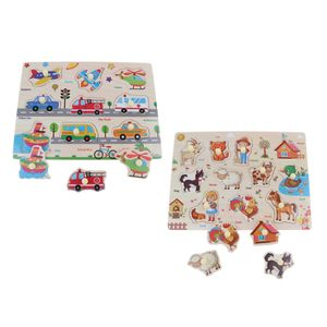 2 Satz Pädagogische Holzpflock Puzzle Für Kinder, Kleinkinder, Verkehr \\u0026 Nutztiere