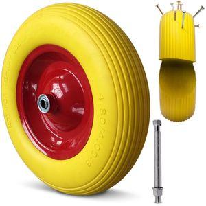 Schubkarrenrad Ersatzrad Gartenkarre 4.80/4.00-8 Ø 390mm 200 kg Schubkarrenreifen Achse Felge, Reifentyp:PU-Schaum