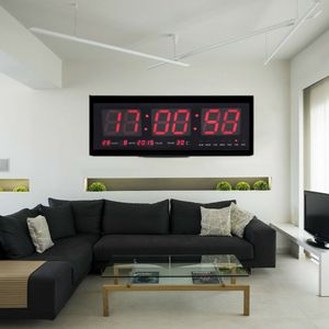 LED Wanduhr Digitaluhr mit Datum Temperatur Wohnzimmer Büro Uhr 12/24 Stunden 48*19*5cm DHL