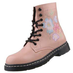 Dockers by Gerli Damen 45TS201 Stiefel Dessert Boots Combat Boot Blumenmuster, Farbe:Rosa (Rosa), Größe:EUR 39