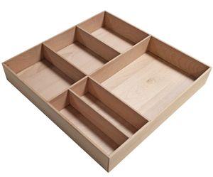 FACKELMANN Orga-Box STANFORD / Organisations Box aus stabilem Buchenholz / Maße (B x H x T): ca. 38 x 4,5 x 37 cm / Ordnungssystem für Schubladen mit 6 Fächern / Farbe: Braun hell / Breite: 38 cm