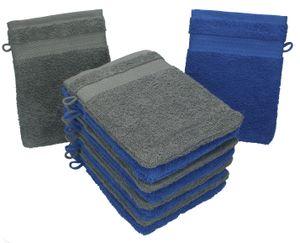 Betz 10 Stück Waschhandschuhe PREMIUM 100% Baumwolle Waschlappen Set 16x21 cm Farbe royalblau und anthrazit