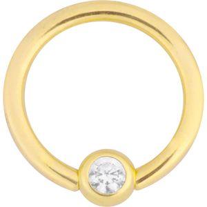 Wildcat Clip In Ring Gold 750 Piercing klarer Kristall Kugel 3mm Durchmesser Ring 8mm Stärke 1,2mm