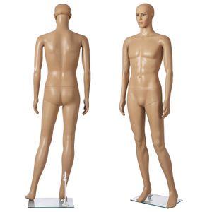 SONGMICS männliche Schaufensterpuppe 185cm aus PE-Plastik Mannequin männliche Schaufensterfigur MPGM18