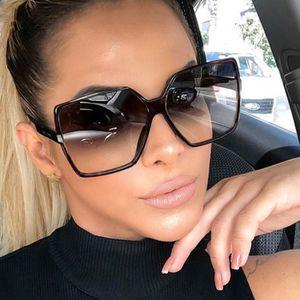 2 St. Vintage Oversize Square Sonnenbrille Frauen Luxusmarke Big Frame Frauen Sonnenbrille Schwarz Fashion Gradient Female Brille Oculos