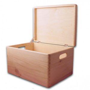Aufbewahrungsbox/ Holzkiste mit Deckel und Grifflöchern Kiefer, Gr. 3