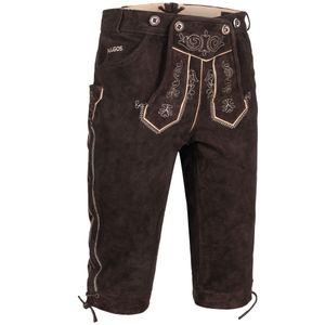 PAULGOS Herren Trachten Lederhose - Kniebund - Echtes Leder - Größe 44 - 60 , Farbe:Dunkelbraun, Größe:50