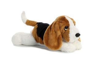 Aurora kuscheltier Hund Basset Flopsie 30,5 cm schwarz/weiß/braun