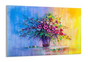 """Glasbild - 100x70 cm - """"Sommergeschenk der Wiese""""- Wandbilder  - Blumenstrauß Glas Blume - Arttor - GAA100x70-4117"""