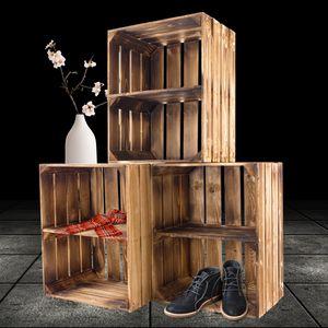 3 geflammte/braune Holzkiste mit Mittelbrett Quer 50cm x 40cm x 30cm Obstkiste Holzregal Kiste Weinkiste