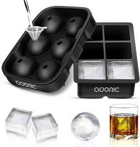 ADORIC Eiswürfelformen aus Silikon, 2er-Set, Kugel-Eiskugel-Maschine mit Deckel und großen, quadratischen Eiswürfelformen für Whiskey, wiederverwendbar und BPA-frei (Eiswürfelformen, Silikon-Set von 2) Eiswürfelformer Eiswürfelzubereiter Eiswürfelbehälter