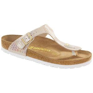 BIRKENSTOCK Gizeh Damen Zehentrenner Beige Schuhe, Größe:41