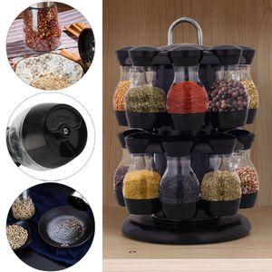 Gewürzregal drehbar, Gewürzkarussell aus ABS, Gewürzständer Schwarz, Gewürzebehälter inkl. 16 Gewürzdosen, Gewürzstreuer zur Aufbewahrung