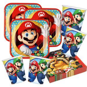 52-teiliges Party-Set Super Mario - Teller Becher Servietten für 16 Kinder