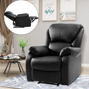 Relaxsessel Fernsehsessel Schwarz Sessel Leder mit Fußstütze Rücklehn verstelltbar für Fernsehen Wohnzimmer Büro