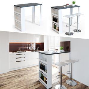 VICCO Bartisch Bar Tresen Weiß Anthrazit Bartresen Stehtisch Tisch Tresentisch Bistrotisch Küche