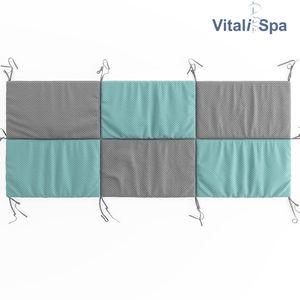 VitaliSpa Hausbett Kinderbett Bettrückwand Wiki 200x85 Türkis-Grau
