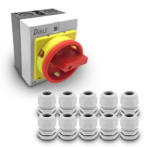 ARLI Hauptschalter 16A 4-polig mit Kunststoffgehäuse 4P16A-G + 10x Kabelverschraubungen M20