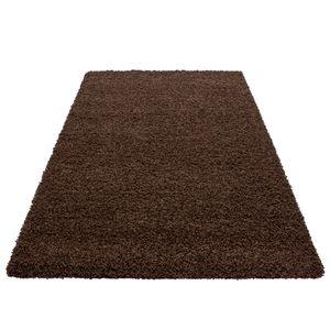 Hochflor Shaggy Teppich einfarbig unicolor teppiche für wohnzimmer , Farbe:BRAUN,160 cm x 230 cm