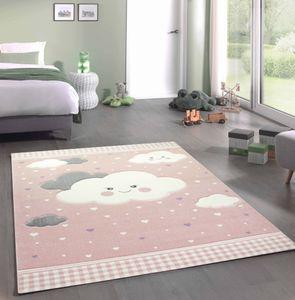 Kinderteppich Spielteppich mit Wolken in Rosa Größe - 120x170 cm