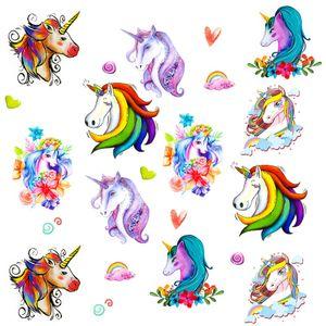 Oblique Unique Einhorn Tattoo Set 12 Stk. Temporäre Unicorn Tattoos Kinder Geburtstag