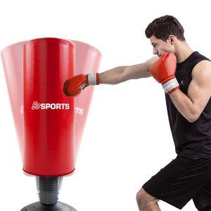 ScSPORTS® Standboxsack, Boxsack stehend, Boxdummy für Boxtraining und Kickboxen, höhenverstellbar 160 - 185 cm, schwarz rot