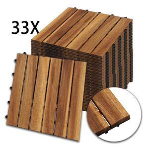 Hengda Holzfliesen 33-er Kachel Set ,3m2, geeignet als Terrassenfliesen und Balkonfliesen, aus Akazien Holz , 30x30 cm, fuer Garten Terrasse Balkon