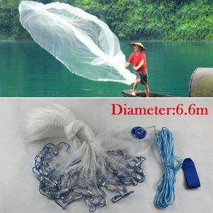 Fischernetz Kescher Wurfnetz 22FT Köderfischnetz Angelnetz Fisch Netz Cast Köder Netz Abfischen Zander Karpfen Gussnetz Mit Sinker