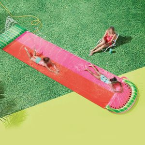 Wasserrutsche Wasserspielzeug Kinder, Doppelte Wasserrutsche Sommer Reißfester Wasserrutschmatte mit Ausguß für Rasen (Rot)