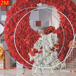 Rosenbogen Rundbogen Hochzeitszeremonie Blumen Metall Ring Hochzeitsbogen Requisiten Ballon Rundring Blumen Dekorativ Hintergrund Torbogen 2M Silber