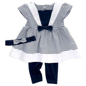 Baby Sweets Mädchen Set Sommer Kleid, Leggings & Haarband blau weiß Streifen 0-3 Monate (62)
