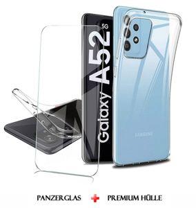 Samsung Galaxy A52 5G Silikon Transparent Hülle + Panzerglas Echt Glas Display Schutzglas