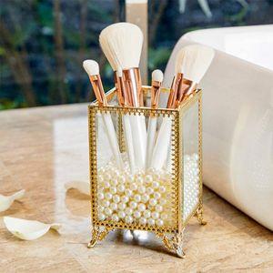 Make-up-Pinselhalter, Glas und Messing, Vintage-Make-up-Pinsel-Organizer, handgefertigt, mit weißen Perlen für Kommode