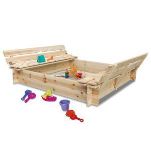 Coemo Sandkasten mit Deckel klappbar 2 Sitzbänke Buddelkasten Holz 120 x 120 cm