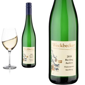 12er Karton 2018 Riesling Auslese süss Hatzenporter Kirchberg Weingut Weckbecker - Weißwein