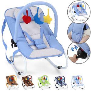 Infantastic® Babywippe - Blau, mit 3-Punkt-Sicherheitssystem, stabilem Metallrohr-Gestell, Schaukelfunktion, inkl. Spielbogen, 3 Spielzeuge - Babyschaukel, Schaukelwippe, Babytrage