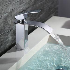 Wasserhahn Bad wasserfall Badarmatur Messing Waschtischarmatur für Badezimmer Einhandmischer Waschbecken Armatur Verchromt