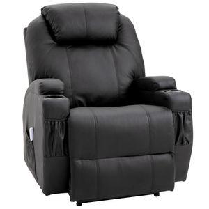 HOMCOM Massagesessel, Relaxsessel, Fernsehsessel, Massagefunktion, Elektrischer Hubsessel, Heizfunktion, Liegefunktion, Kunstleder+MDF+Metall+Schaumstoff, Schwarz, 82 x 97 x 110 cm