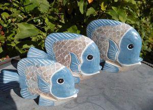 Handgearbeitete Fische Statuen Deko-Objekt 3 Stück blau+beige maritim