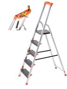 SONGMICS Leiter 5 Stufen, max. statische Belastbarkeit 150 kg, Mehrzweckleiter, Aluleiter, 12 cm breite Stufen, Stehleiter, Werkzeugschale, Klappleiter, rutschfest, Rheinland GS-Zertifikat, erfüllt EN131 GLT05BK