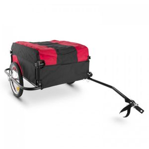 DURAMAXX Mountee - Fahrradanhänger , Lastenanhänger , Handwagen , mit Hochdeichsel , Transportbox mit 130 L Volumen , Tragkraft: max. 60kg , Kugel-Kupplung für Fahrräder mit 26'' - 28'' , rot