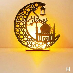 Holz Ramadan Eid Mubarak Mond LED Licht Ornamente Muslim Islamischen Party Decor