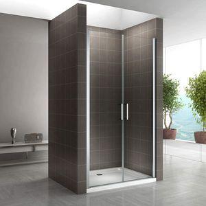 i-flair Duschtür 89-92 cm - Höhe: 185 cm, Duschabtrennung aus 6 mm durchsichtigem ESG Sicherheitsglas mit Edelstahlgriffen und Nanobeschichtung