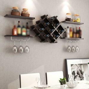 Weinregal Schwarz Weinschrank hängen Weinregal Wandhalterung Flaschenhalter Regale Wandregal für Küche Restaurant Bar