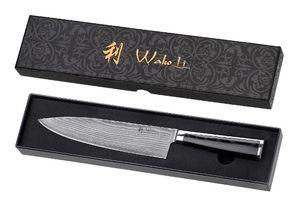 Wakoli Damast Chefmesser, Klinge 20,00 cm Länge - japanischer Damaststahl VG-10 mit Mikatagriff - Wakoli Migan Serie