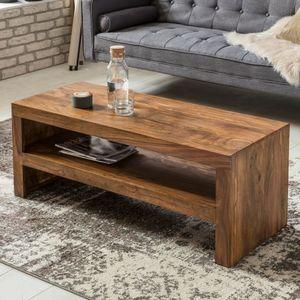 FineBuy Couchtisch Massiv-Holz Durban 110 cm breit Wohnzimmer-Tisch braun Landhaus-Stil Beistelltisch Farbe wählbar, Nachbildung/Front:Sheesham