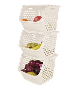 HAOGUT Stapelkorb mit Deckel, 3x22.5L Stapelkisten Gemüse Obst Kartoffeln Aufbewahrungskorb Regal Körbe, Kunststoff Ablagekorb  beige